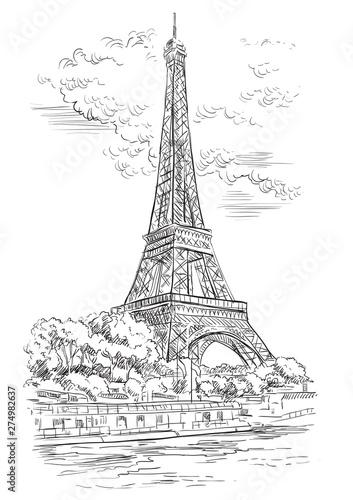 Obraz Vector hand drawing Paris 1 - fototapety do salonu