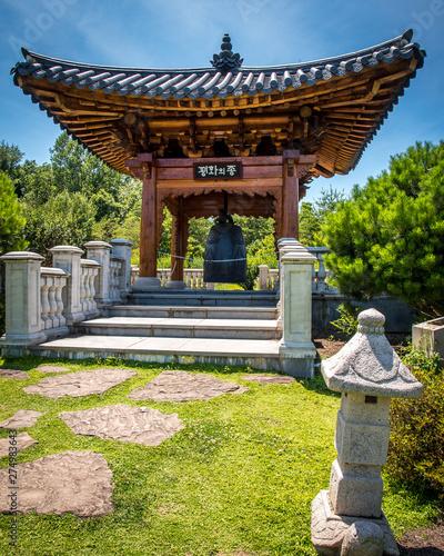 Korean Pagada and temple bells architecture at the Meadowlark Botanical Gardens in Vienna Virginia