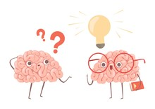 Problem Solving Vector Concept. Cartoon Brains Thinking About Problem And Finds New Idea Illustration. Illustration Of Brain Idea, Question Think