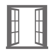 Open Window On White Backgroun...