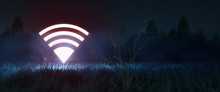 Glowing Neon Wi-fi Symbol In The Night Field. Free Wi-fi, 5g Network, Coverage Area, Navigation Concept With Copy Space 3d Redner