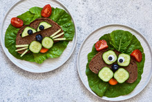 Sandwiches For Children For Breakfast. Animal Muzzles: Cat And Dog. View From Above.