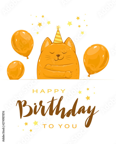 Fototapeta Kitty with Balloons and Lettering Happy Birthday