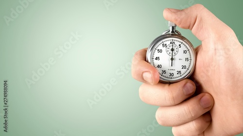 Close-up Stopwatch in Human Hand, Timer Canvas Print