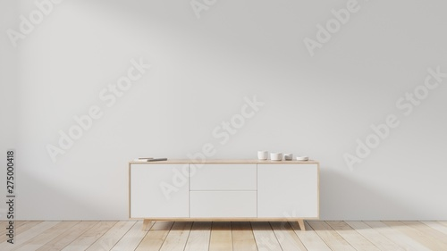 Photo  Tv cabinet in modern empty room,white wall, 3d rendering