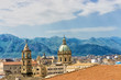 Dome of the Saint Catherine Church with mountains in Palermo, Italy