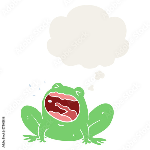 Vászonkép cartoon frog shouting and thought bubble in retro style