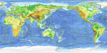 World Map Equirectangular Projection Pacific Ocean