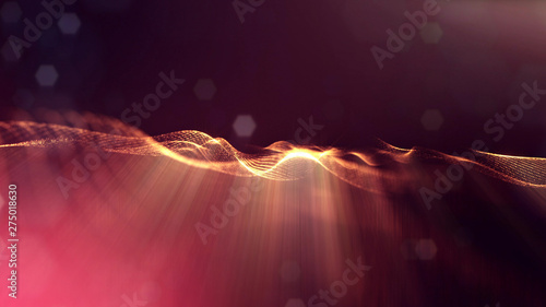 Papel de parede  3d rendering background of glowing particles with depth of field, bokeh