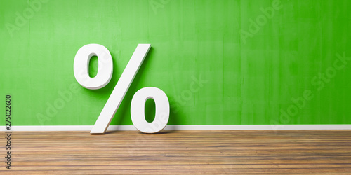 Photo  White Percent Sign on Brown Wooden Floor Against green Wall - Sale Concept - 3D