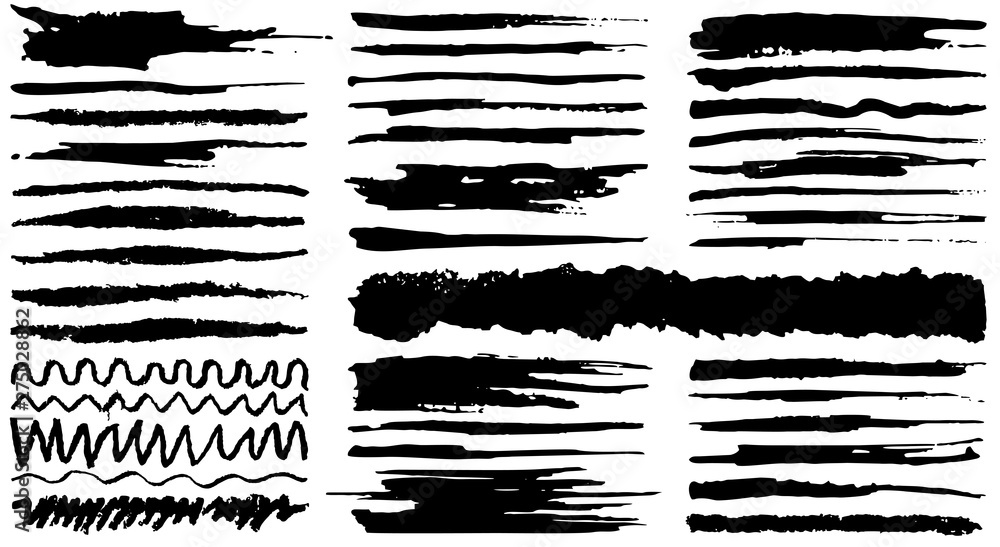 Fototapety, obrazy: Collection of vector hand drawn various shapes brush strokes. Creative black thin paintbrush lines, isolated on white background.