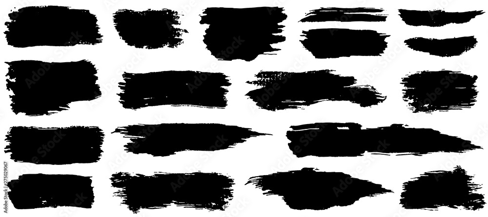 Fototapeta Vector collection of artistic grungy black paint hand made creative brush stroke set isolated on white background.