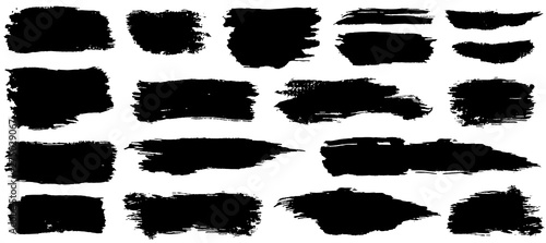 Fotografie, Tablou Vector collection of artistic grungy black paint hand made creative brush stroke set isolated on white background
