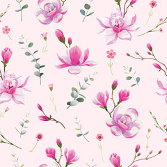 Seamless floral pattern background for wallpaper, card or fabric. Water color style, Magnolia flower. Vector