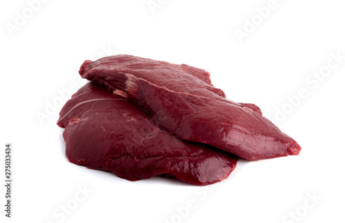 Photo Fresh Deer Meat or Venison Isolated on White Background