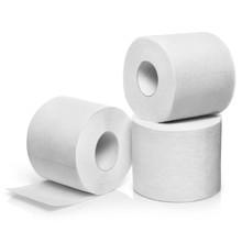 Three Rolls Of White Toilet Pa...