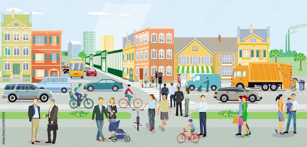 Fototapeta Straßenverkehr mitFußgänger und Autos aufStädtischerstraße