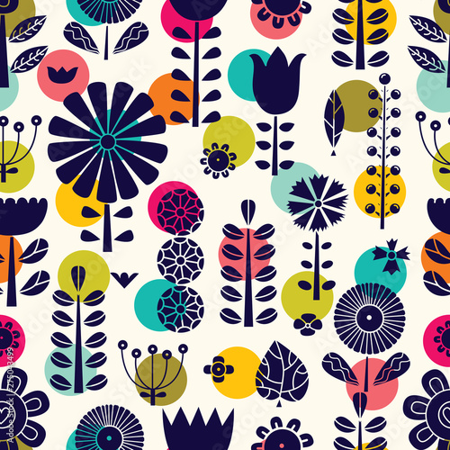 Blue flowers in Scandinavian style. Summer motive. Vector seamless pattern.