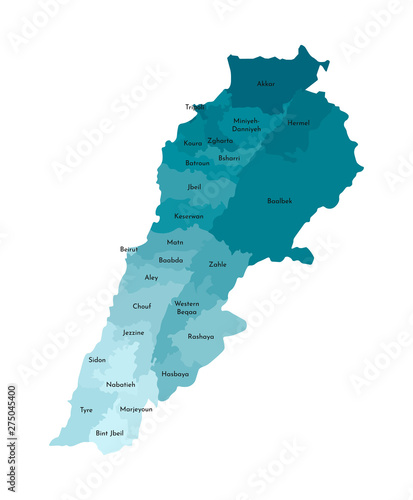 Photo Vector isolated illustration of simplified administrative map of Lebanon