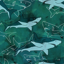 Seamless Sea Pattern With Sharks On Blue Background.
