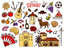 Spanish Traditional Symbols And Objects. Set Of Signs And Icons In Vintage Style. Hand Drawn. Guitar, Futbol, Music And Wine.
