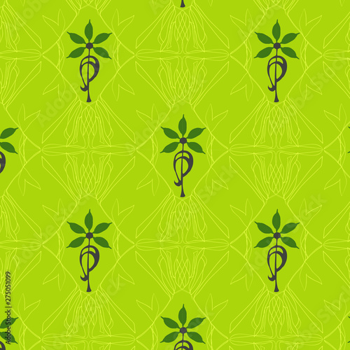 Accidental Art Nouveau - yellow and green Canvas Print