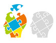 Puzzle male heads, psychology concept. Two Puzzle heads silhouettes symbolizing Psychology, psychological problems.Vector available.