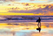 Surfer Walking Sunset Bali Beach