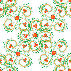 Vector red and yellow swirls and berries