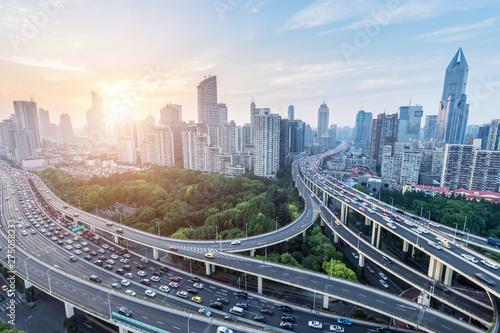 Foto auf AluDibond Shanghai city viaduct in rush hour
