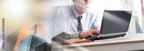 Fototapety, obrazy: Mature businessman working on laptop; multiple exposure