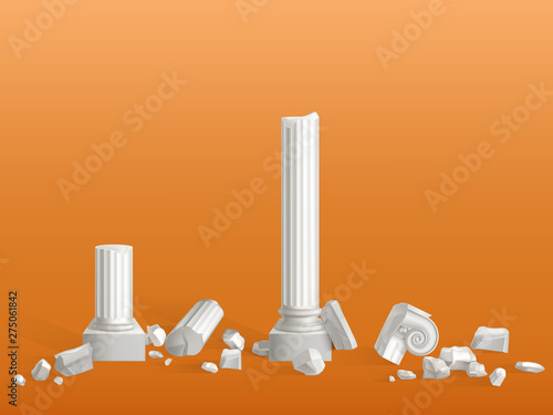 Antique columns of white marble stone broken on pieces, ancient Greek city or Roman empire temple, palace ruins fragments isolated 3d realistic vector illustration Fotobehang