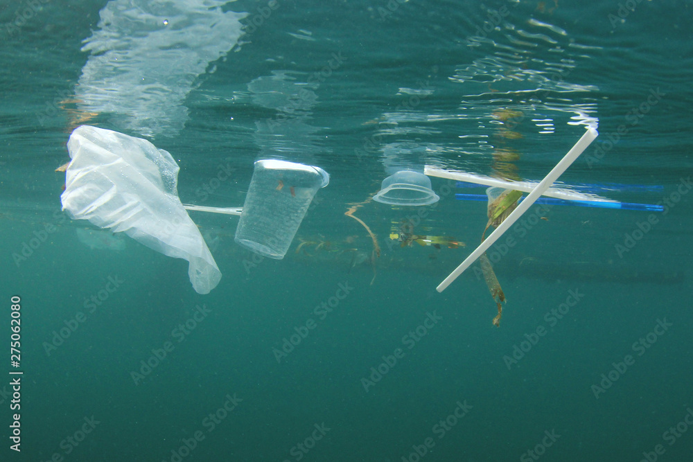 Fototapety, obrazy: Plastic ocean. Pollution crisis as plastic bags, cups, straws and bottles end up in sea