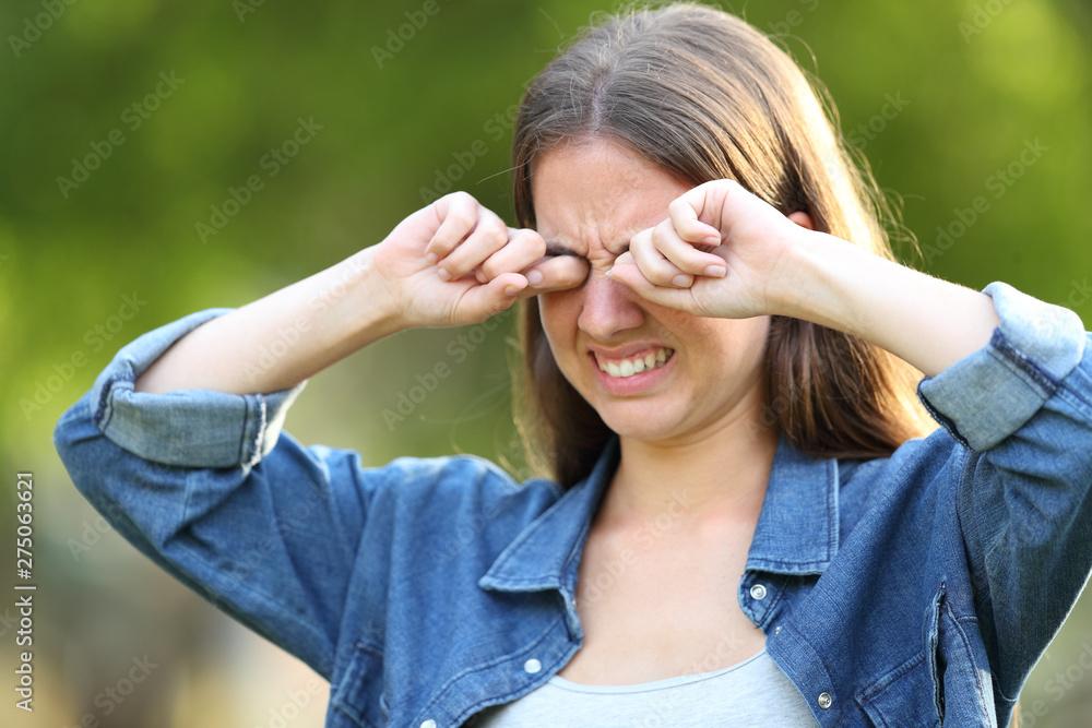 Fototapeta Woman suffering itching scratching eyes