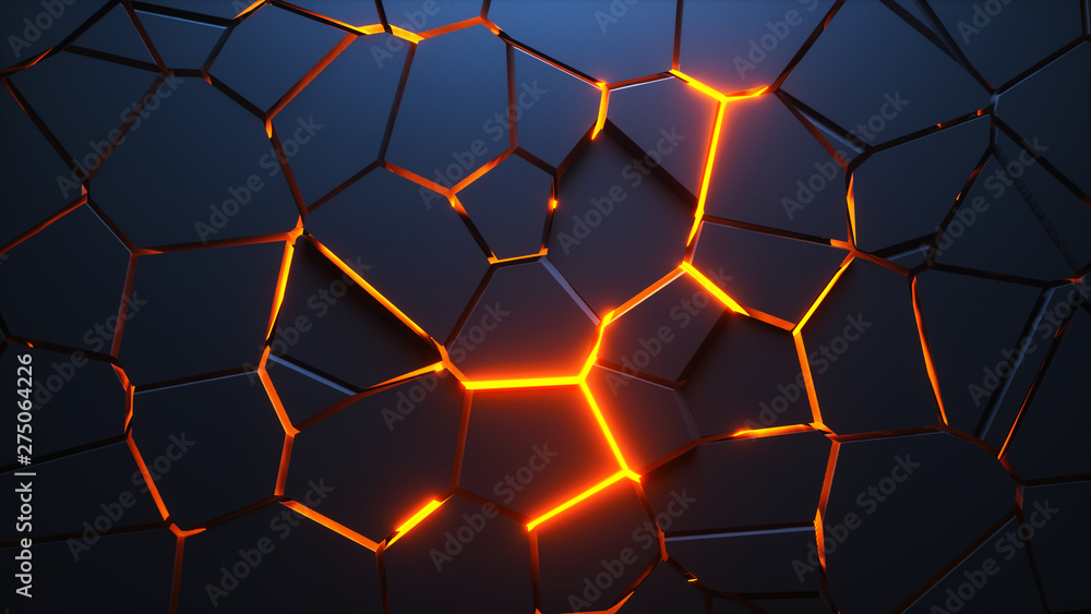 Fototapeta Abstract geometric background. Explosion power design with crushing surface. 3d illustration.