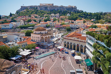 Skyline Of Athens With Moanstiraki Square And Acropolis Hill, Athens Greece.