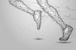 Leinwanddruck Bild - Abstract polygonal Running legs from lines, triangles and particle. Low poly wireframe illustration.