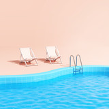 Fototapeta Perspektywa 3d - Swimming pool with lounge chairs