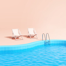 Swimming Pool With Lounge Chairs