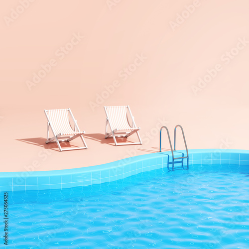 Swimming pool with lounge chairs Wallpaper Mural