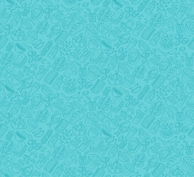 Food Vector Seamless Pattern. Cuisine, Fast Food Wallpaper With Gastronomy Icons. Turquoise, Tiffany Blue Color Texture. Decorative Textile, Wrapping Paper Design. Bright Background For Menu, Receipts