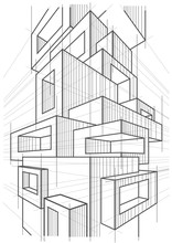 Abstract Linear Architectural Sketch Of Abstract Multi Storey Modern Building