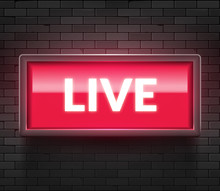 Live Light Broadcast Sign. Tv Radio Studio Live Red Box On Air Show Icon