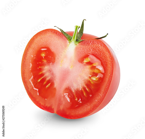 Fotomural A half of fresh ripe tomato isolated on white background