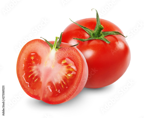 Photo Composition with whole and sliced tomatoes isolated on white background