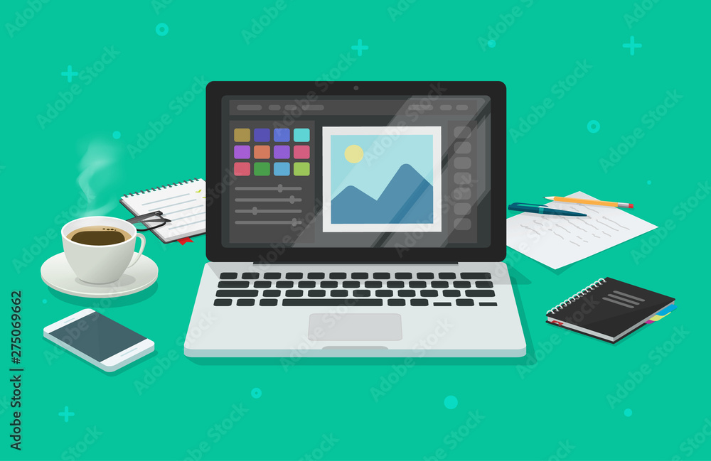Fototapeta Photo or graphic editor on computer vector illustration, flat cartoon laptop screen with design or image editing software or program on workplace desktop table image