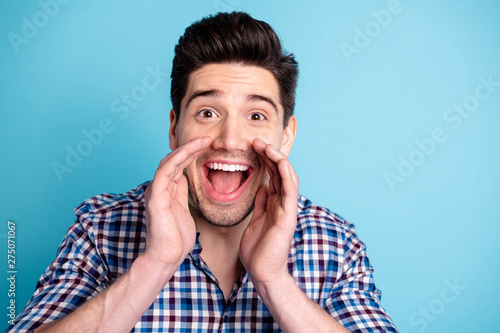 Closeup photo portrait of cheerful rejoicing nice glad positive nice guy with mo Canvas Print