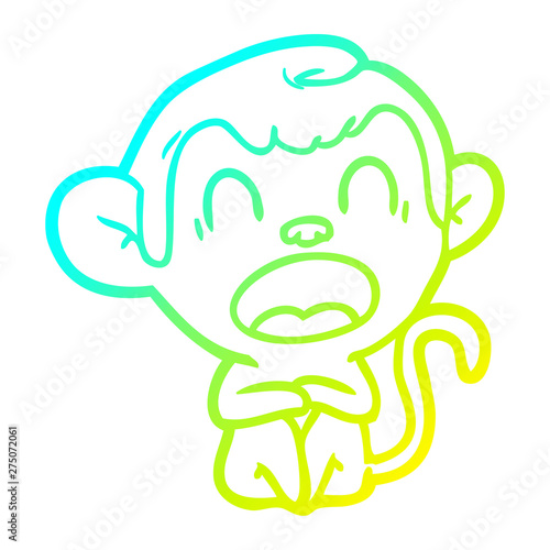 cold gradient line drawing yawning cartoon monkey Poster Mural XXL
