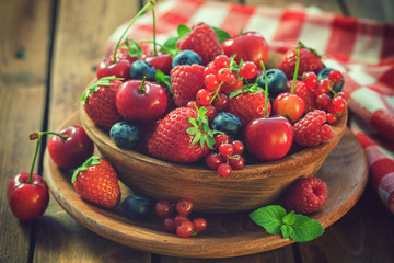 Fresh mixed berry fruits in...
