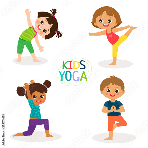 Yoga Kids Poses Vector Cartoon Illustration  Little Girls